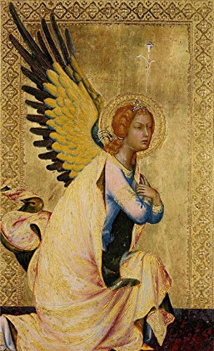 'Simone Martini,The Angel of the Annunciation,1333' oil painting, 18x30 inch / 46x75 cm ,printed on Perfect effect Canvas ,this Reproductions Art Decorative Canvas Prints is perfectly suitalbe for Kids Room gallery art and Home artwork and Gifts