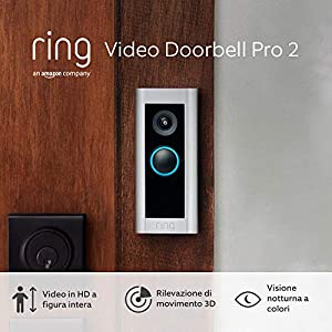 Ti presentiamo Ring Video Doorbell Pro 2 di Amazon, Video in HD a figura intera, rilevazione di movimento 3D, alimentazione via cavo, periodo di prova gratuita di 30 giorni del piano Ring Protect
