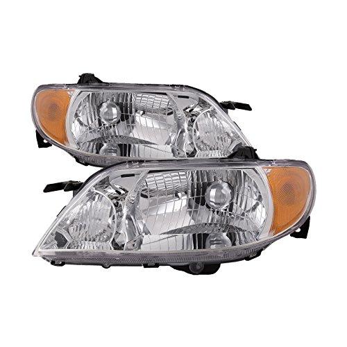 HEADLIGHTSDEPOT Compatible with Mazda Protege 4-Door Sedan Aluminium Bezel New Headlights Set