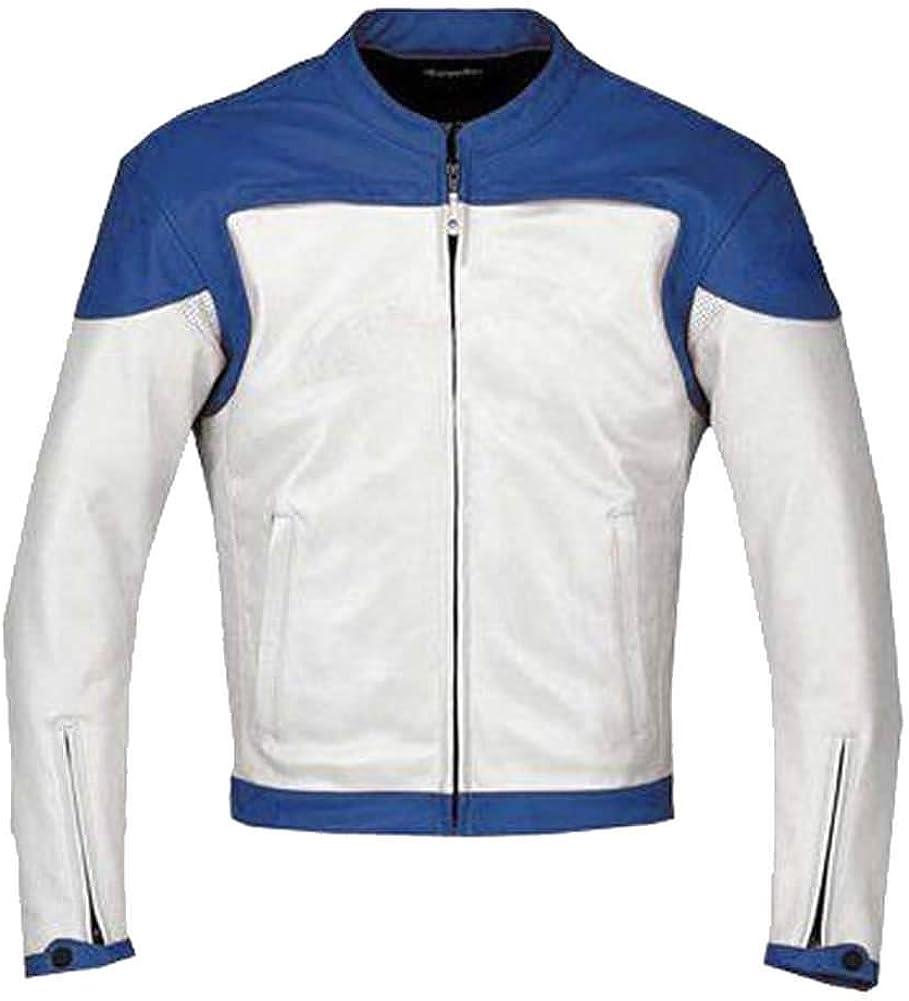 Stormwise Mens Fashion White /& Blue Motorcycle Real Leather Jacket