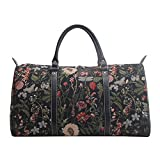 Ladies Black Garden Flower Carry-on Overnight Weekender Duffel Travel Hand Luggage by Signare with Sunflower Poppy Butterfly Dragonfly (BHOLD-MGDBK) Review