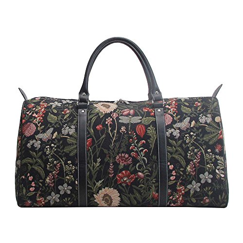 Ladies Black Garden Flower Carry-on Overnight Weekender Duffel Travel Hand Luggage by Signare with Sunflower Poppy Butterfly Dragonfly (BHOLD-MGDBK)