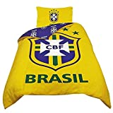 Brazil Football Official Reversible Duvet Cover Bedding Set (Single And Double) (Twin Bed) (Yellow/Blue)