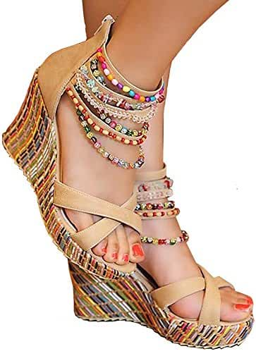 Getmorebeauty Women's Wedge Sandals Pearls Across The Top Platform High Heels