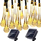 Solar Water Drop String Lights 20ft 30 LED Outdoor String Fairy Waterproof Lights Solar Powered Christmas Decoration String Lights for Garden, Patio, Yard, Christmas Tree, Party, 2-Pack(Warm White)