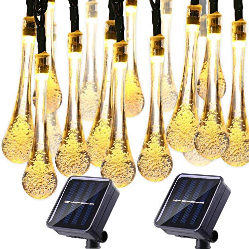 Solar String Lights Water drop 20ft 30LED Outdoor String Fairy Waterproof Raindrop Lights Solar Powered Christmas Decoration String lights for Garden Patio Yard Christmas Tree Party(2-PACK-Warm White)