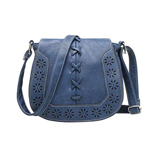 Purse Crossbody Hollow Messenger Navy Bags PU Bag Saddle Women Hrph Handbags Leather Shoulder Out Tassel aHwTxF