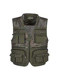 MagiDeal Summer Autumn Men Multifunctional Multi Pocket Photography Fishing Mesh Vest Outdoor Quick-Drying Travel Jacket Waistcoat M-XXXXL