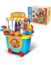 Pretend Food BBQ Playset Toys 33pcs with Carrying Case for 3 4 5 year Old Girls Boys (BBQ Food Cart)