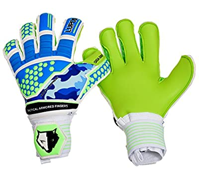 Goalie Gloves Youth, Kids, Adult - Lupos Tactical. Goalkeeper Gloves with 3D Tech Punch Zone, Removable Pro Fingersave, 4 mm German Latex Palm, Camo Breathable Airprene Backhand, Hybrid Cut