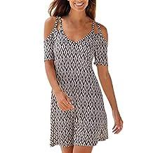 Women Boho Cold Shoulder Short Sleeve Dress Spaghetti Strap Aline Short Dress Summer Evening Gowns