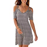 Women's Sexy Cold Shoulder Short Sleeve Midi Dress Geometric Pattern Boho Style Loose Sundress Vintage Sling Dresses (XXL)