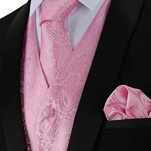 (WULFUL Men's 3pc Paisley Vest Necktie Pocket Square Set for Suit or Tuxedo Pink)