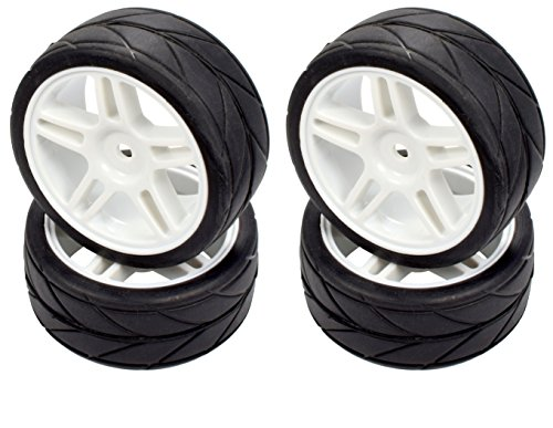 Apex RC Products 1/10 On-Road 12mm White Split 5 Spoke Wheels V Tread Rubber Tires (Set of 4) #5016 ()