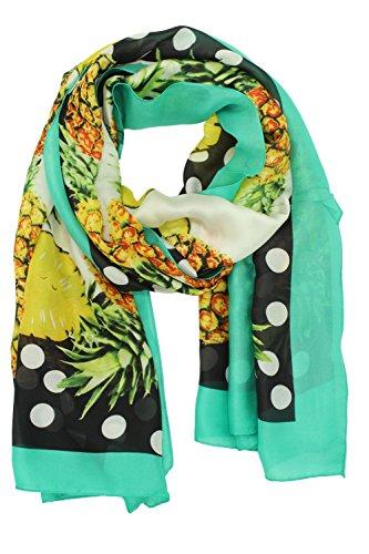 Jaweaver Lightweight Scarf Shawl Fruit Print Silk Like Long Beach Wrap For Women (Pineapple Green)