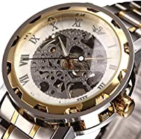 Watch, Mens Watches Luxury Business Steel Bracelet Mechanical Classic Skeleton Roman Numeral Silver