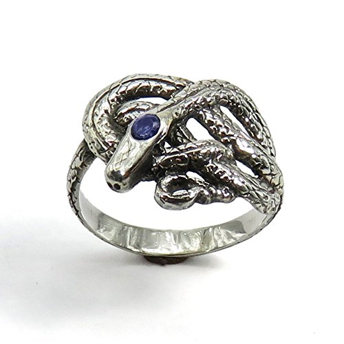 (Sapphire Knotted Snake - Sculpted Sterling Silver Ring)