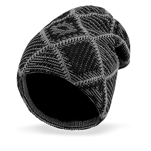 Knit Hat Skull Cap - VBIGER Beanie Hat Knit Hat Winter Skull Wool Hat Windproof For Men & Women (Black)