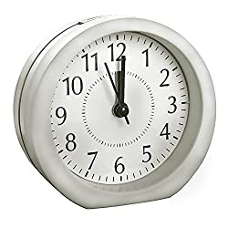 Alarm Clock Vintage Silent-HQOON (2018 New Upgrade) Personal Loud Alarm Clock,Battery Operated Travel Wake Up Clock For Kid,Women,Men Including 15 Ringtone,5 Min Snooze Function,Soft Night Light white