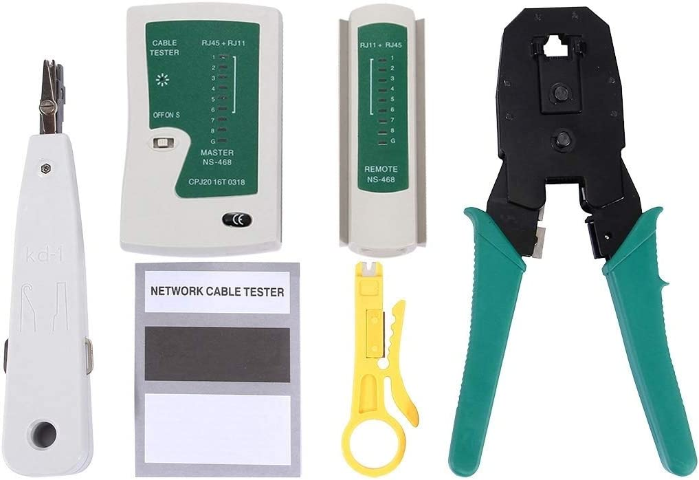 JINYANG Portable 9 in 1 RJ45 Crimping Crimper Stripper Punch Down RJ11 Cat5 Cat6 Wire Line Detector Ethernet Network Cable Tester Tools Kits