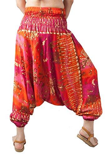 Pantaloni Arancia Lofbaz Harem Harem amp; Tie Donna Hippie Tuta Boemo Dye Yoga Rosa 6x076q
