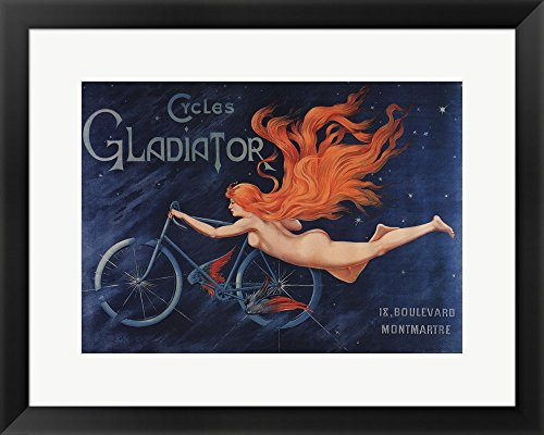 Gladiator Cycles Framed Art Print Wall Picture, Black Frame with Hanging Cleat, 24 x 19 inches (Pictures Of Gladiators)