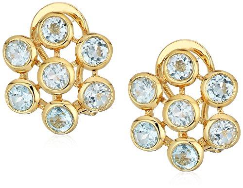 Gold Plated Sterling Silver Blue Topaz Flower Earrings