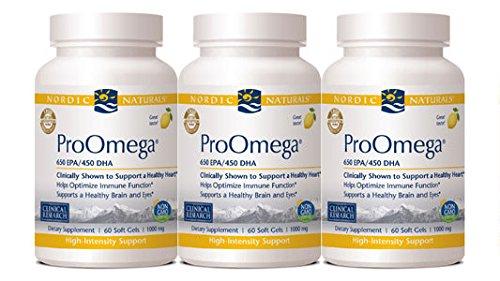 Nordic Naturals Pro Omega Lemon Flavor 1000 Milligram 360 Softgels 120 Count 3 Pack
