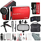 Bell & Howell Red DV30HD 1080p HD Video Camera Camcorder + Deluxe Accessory Bundle + Professional 8 Pc Cleaning Kit