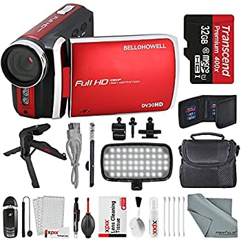 Image of Bell & Howell DV30HD 1080p HD Video Camera Camcorder (Red) + Case, LED Light, Tripod, 32GB Memory Card, Memory Card Wallet, Card Reader & Xpix Deluxe Cleaning Accessories Camcorders