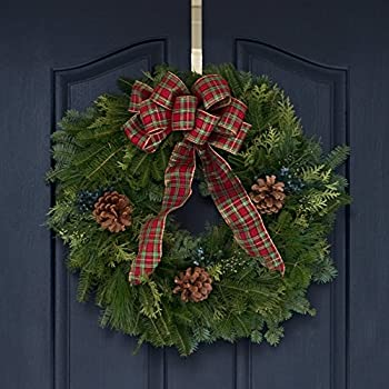 fresh country plaid door christmas wreath enjoy the scent of real balsam pine holiday