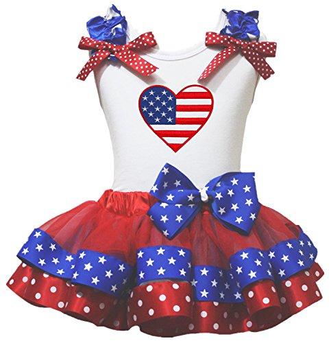 Petitebella USA Heart White Shirt Red Blue Stars Ribbon Petal Skirt Outfit Nb-8y (3-12month)