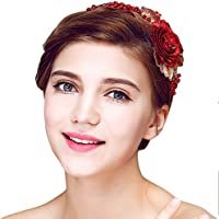 YAZILIND Headdress Beauty Bridal Headband Red Flower Beads Rhinestones Wedding Hair Accessories Party Women