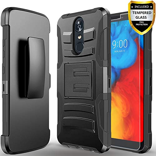 LG Q7 Plus Case, LG Q7 Case, With [Tempered Glass Screen Protector] Circlemalls Built-In Kickstand Holster Phone Cover Heavy Duty Belt Clip And Stylus Pen Compatible For LG Q7 Plus/Q7+/Alpha-Black