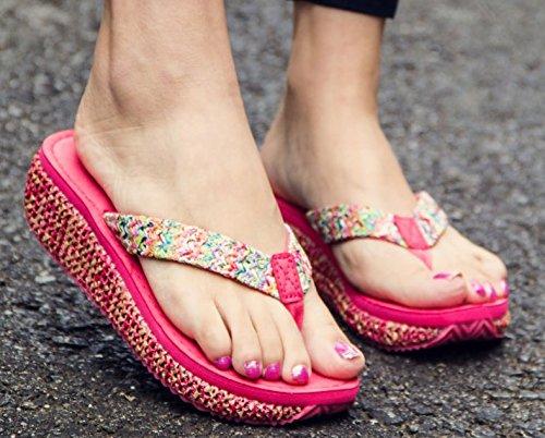 AWXJX Tongs Femme Chaussures été Usure extérieure fond épais talon haut bord de mer pincée Pink 7.5 US/38 EU/5 UK rouge 4.5Cm etpKfoH8
