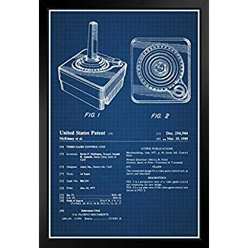 Amazon joystick atari 2600 video gaming official patent proframes joystick atari 2600 video gaming official patent blueprint framed poster 12x18 malvernweather Image collections