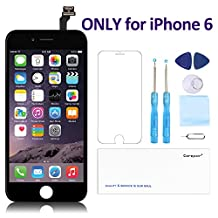 "for iPhone 6(4.7"") Screen Replacement Black - Corepair LCD Display Screen + Touch Digitizer Assembly with Full Set Repair Tools and Screen Protector (iPhone 6 Black)"