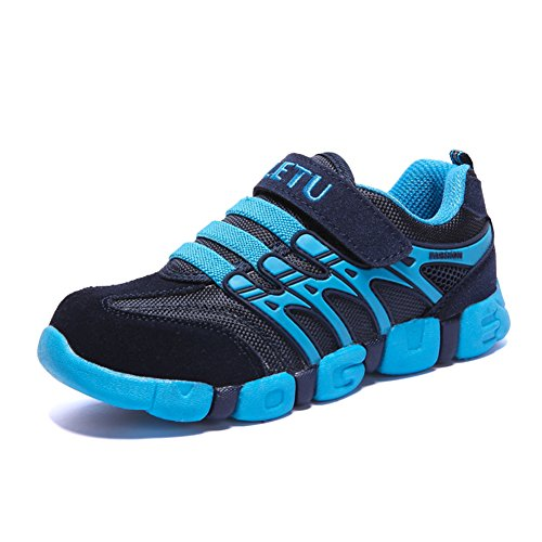 JINDENG Boys Girls Running Shoes Kids Sneakers Grade School Strap Hook&Loop Walking Footwear Easy On