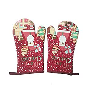 1 Pair Christmas Flowers Heat Resistant Oven Mitts 2015 Backing Gloves Print Microwave Oven Gloves Heat Resistant Oven Mitts