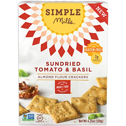 Cheap Simple Mills Almond Flour Crackers, Sundried Tomato & Basil, Naturally Gluten Free, 4.25 oz, 3 count