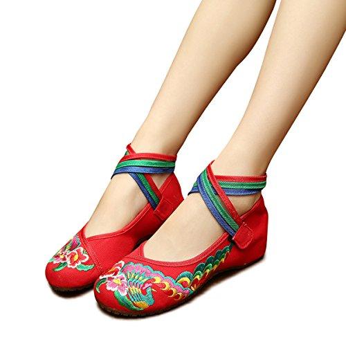 b421d7fa64cbd Veowalk Cotton Floral Embroidery Women's Flat Shoes Cross Strap ...