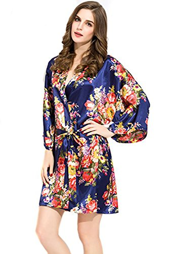 Endless Envy Bridesmaid Floral Robes Wedding Bride (LG/XLG, Navy) Xlg Satin