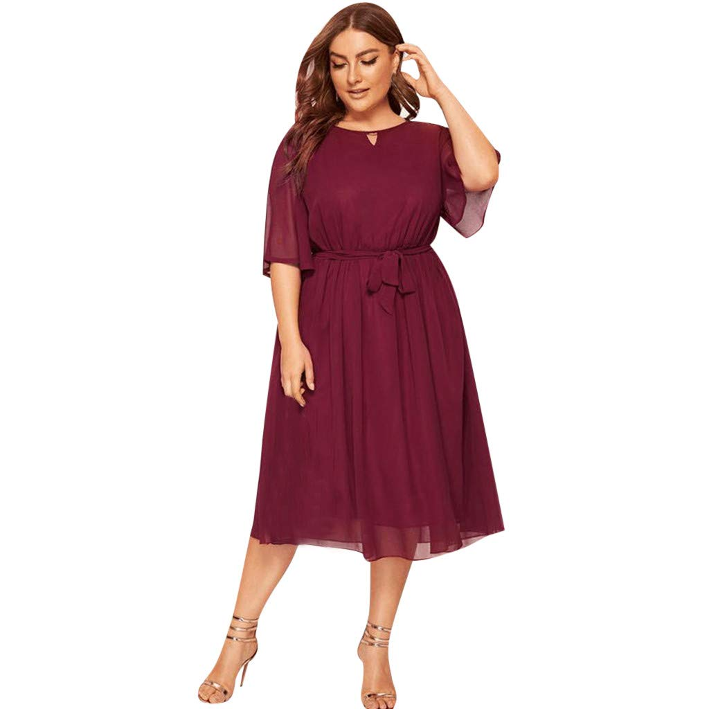 Women Chiffon Tie Waist Dress - Ladies Ruffle Half Sleeve Solid Color Plus Size Midi Dresses - Elegant Comfy Prom Work Clothes (XXXL, Red)
