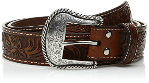 Nocona Men's Floral Embose Western Bucle, Tan, - Belt Nocona Brown