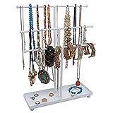 KMCMYBANG Jewelry Storage Rack Women's Modern Black Metal 3 Tier Tabletop Bracelet & Necklace Jewelry Organizer Display Tree Rack W/Ring Tray Desktop Jewelry Rack
