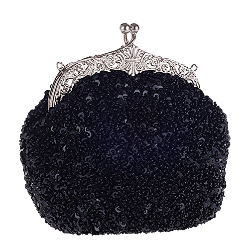 Metal Evening Silver With Vintage Black Hattie Shoulder Beaded Chain Bag Clutch Handbag Women qTCw6