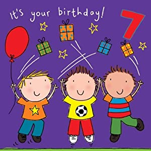 Twizler 7th Birthday Card for Boy with Friends, Presents