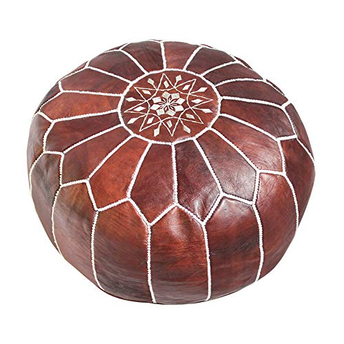 Premium Handmade Dark Brown Tobacco poufs Moroccan Leather Pouf,Ottoman Footstool Hassock 100% real Natural Leather pouffe,Home gifts, wedding gifts, foot stool Review