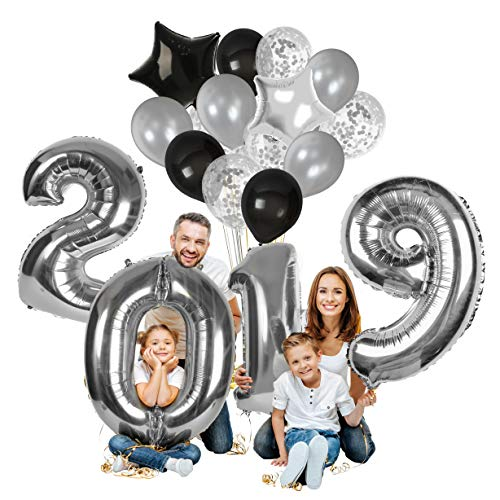 Treasures Gifted Happy New Year Decorations 2019 Balloons Black Silver Confetti Balloon New Years Eve Party Supplies Latex Foil Mirror Mylar Star Letter Celebration Decorations ()
