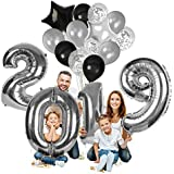 Treasures Gifted Happy New Year Decorations 2019 Balloons Black Silver Confetti Balloon New Years Eve Party Supplies Latex Foil Mirror Mylar Star Letter Celebration Decorations
